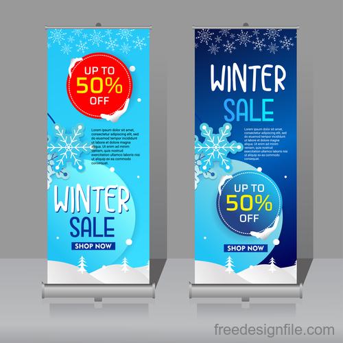 Winter roll vertical banners vector 03
