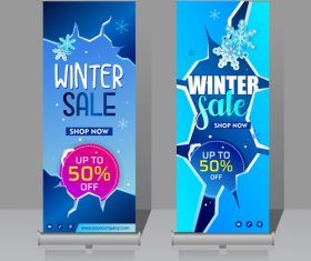 Winter roll vertical banners vector 04