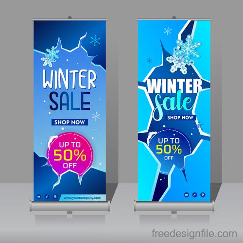 Winter roll vertical banners vector 04