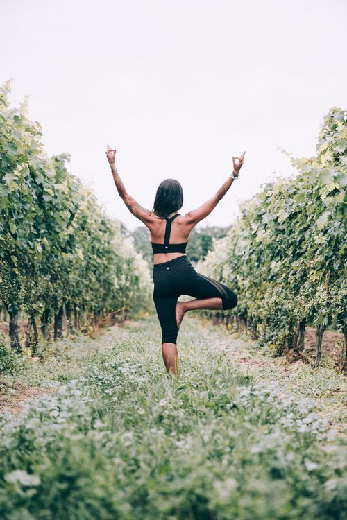 Woman practicing yoga in the vineyard Stock Photo
