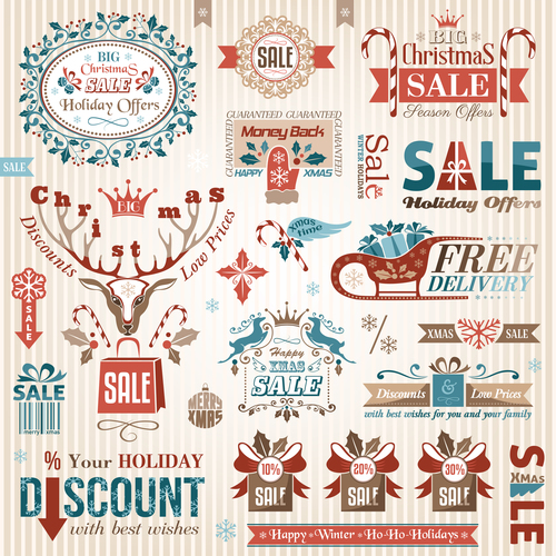 Xmas logo sale color vector material 01