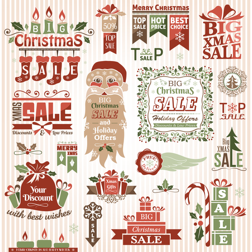 Xmas logo sale color vector material 03