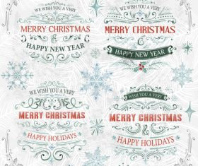 Xmas ornaments with lables retro vector 02