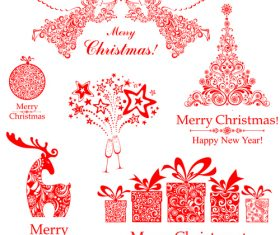 Xmas red decor floral vector