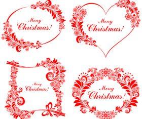 Xmas red floral decorative labels vector