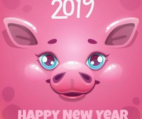 Year of the pig 2019 background vector