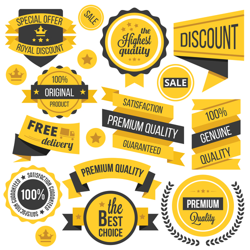 Yellow Badges Ribbons and Labels Vector Set