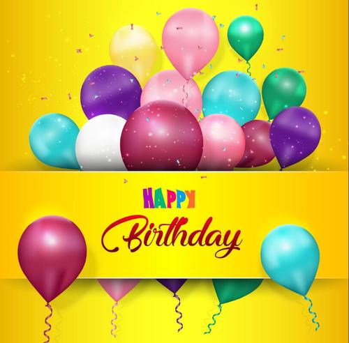 Yellow birthday card with colorful balloons vector