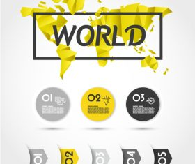 Yellow infographic concepet with world map vector
