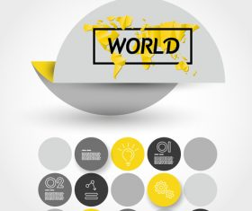 Yellow infographic element with world map vector