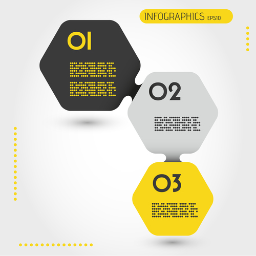 Yellow infographic hexagons vector