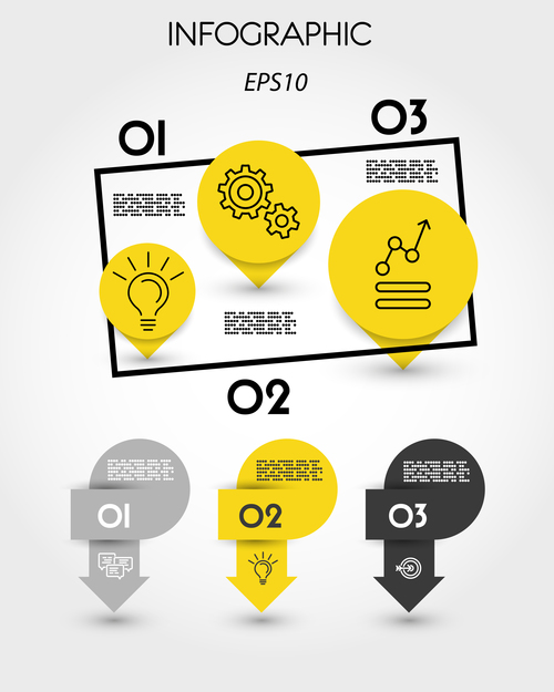 Yellow infographic template with pointers vector