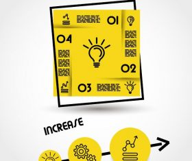 Yellow infographic template with square vector