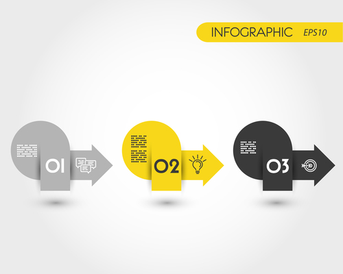 Yellow round infographic three stickers with arrows vector
