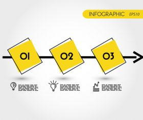 Yellow timeline with squares infographic vector