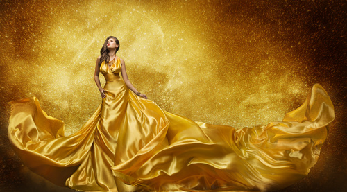 Young Woman in Fashion Shiny Dress Stock Photo 01