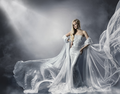 Young Woman in Fashion Shiny Dress Stock Photo 06