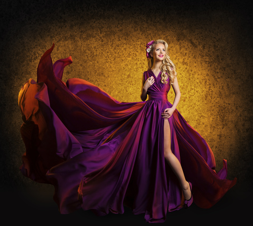 Young Woman in Fashion Shiny Dress Stock Photo 09