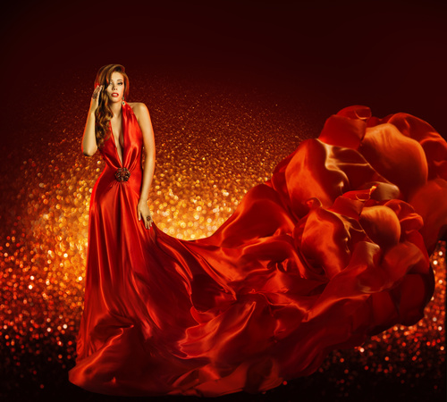 Young Woman in Fashion Shiny Dress Stock Photo 10