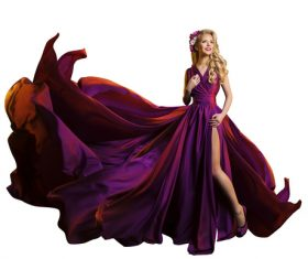 Young Woman in Fashion Shiny Dress Stock Photo 12