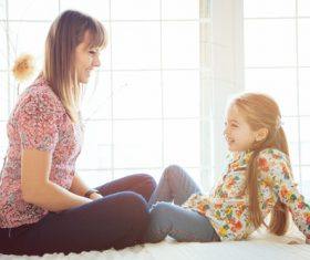 Young mother and daughter Stock Photo 02
