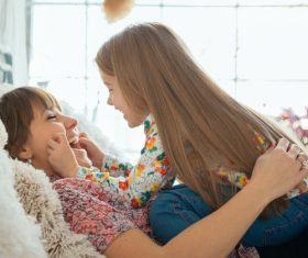 Young mother and daughter Stock Photo 05