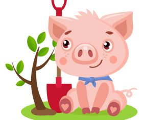 baby pig and tree vector material