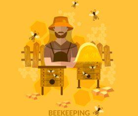 beekeping background design vectors 01