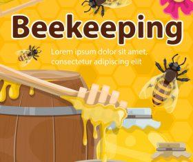 beekeping background design vectors 02