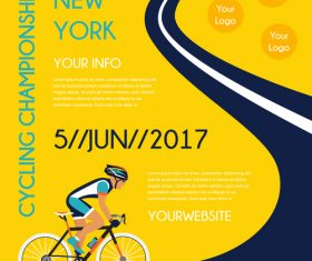 bicycle race event flyer with poster vector template 05