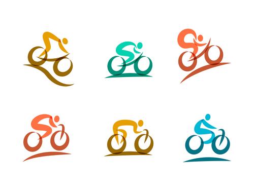 bicycle sport logos vector set 02