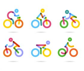 bicycle sport logos vector set 03