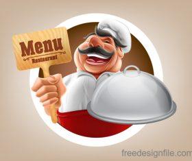 chef with menu design vector