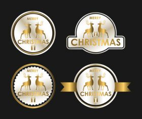 christmas luxury badges golden vector