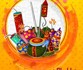 happy diwali holiday ceremony design vector 02