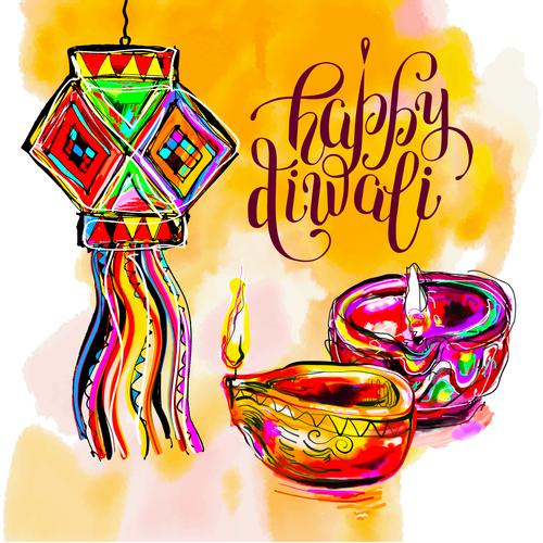 happy diwali holiday ceremony design vector 04