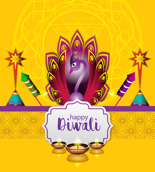 happy diwali holiday ceremony design vector 05