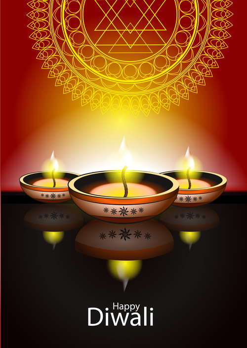 happy diwali holiday ceremony design vector 06