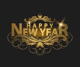 happy new year golden labels vector 01