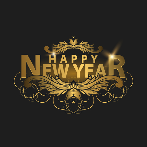 happy new year golden labels vector 01
