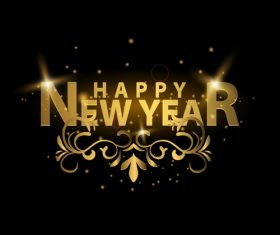 happy new year golden labels vector 02