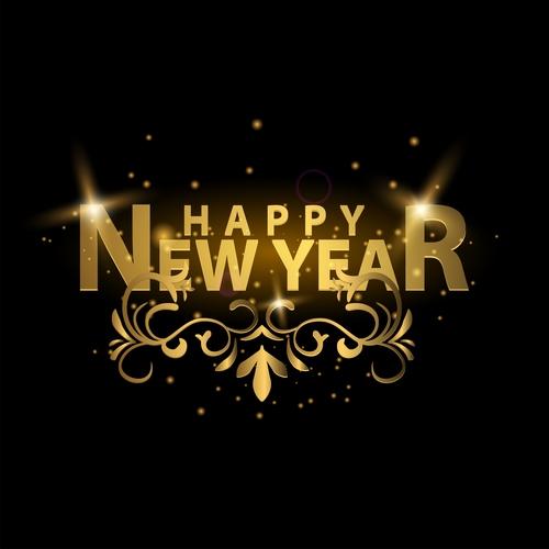 happy new year golden labels vector 02