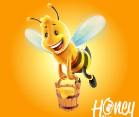 honey with cartoon bee vectors 01