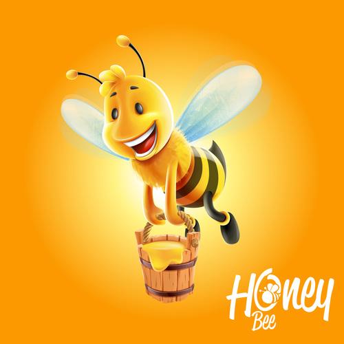 honey with cartoon bee vectors 01