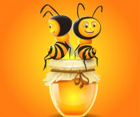 honey with cartoon bee vectors 02