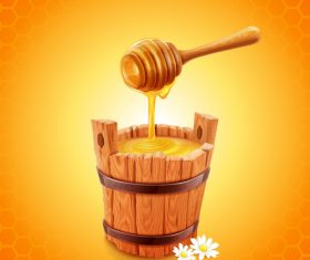 honey with wooden barrel vectors