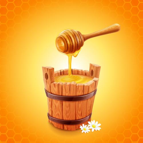 honey with wooden barrel vectors