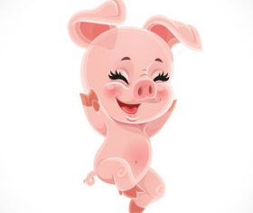 little cute cartoon baby pig with white background vector 01