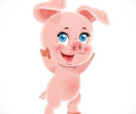 little cute cartoon baby pig with white background vector 02