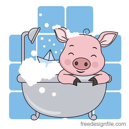 lovely pig is bathing vector